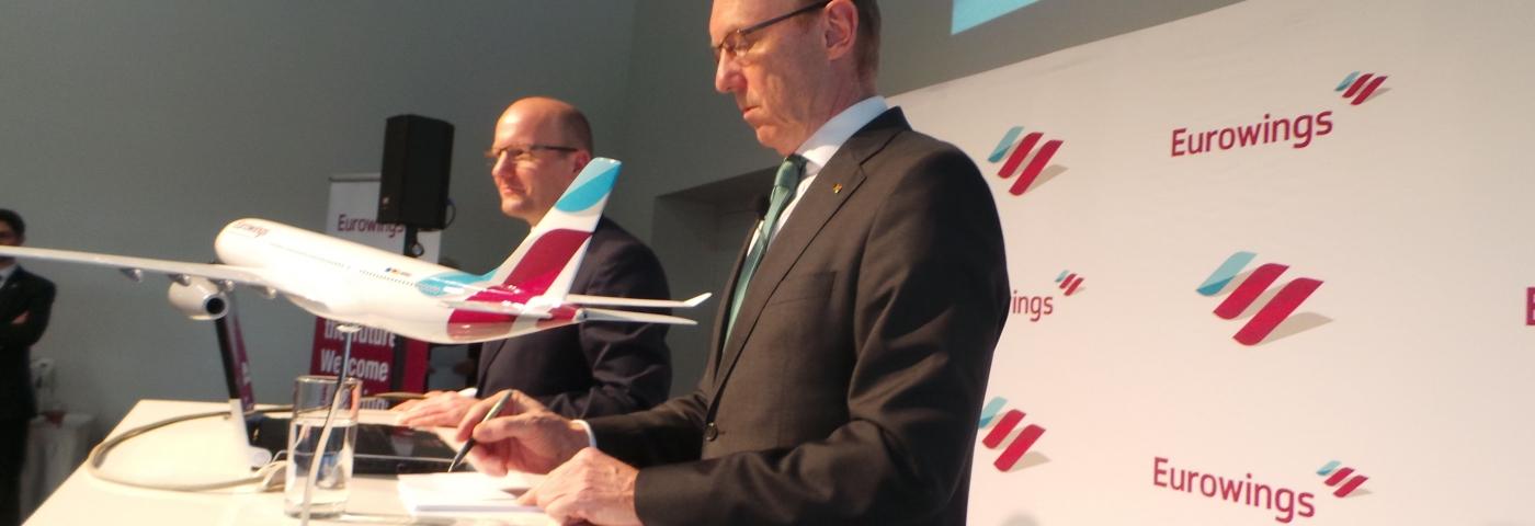 Karl Ulrich Garnadt bei der Vorstellung von Eurowings