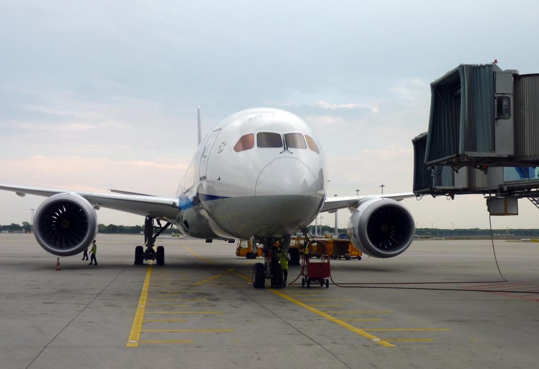 Auch den Dreamliner der ANA  kann man auf dem Flughafen bewundern.