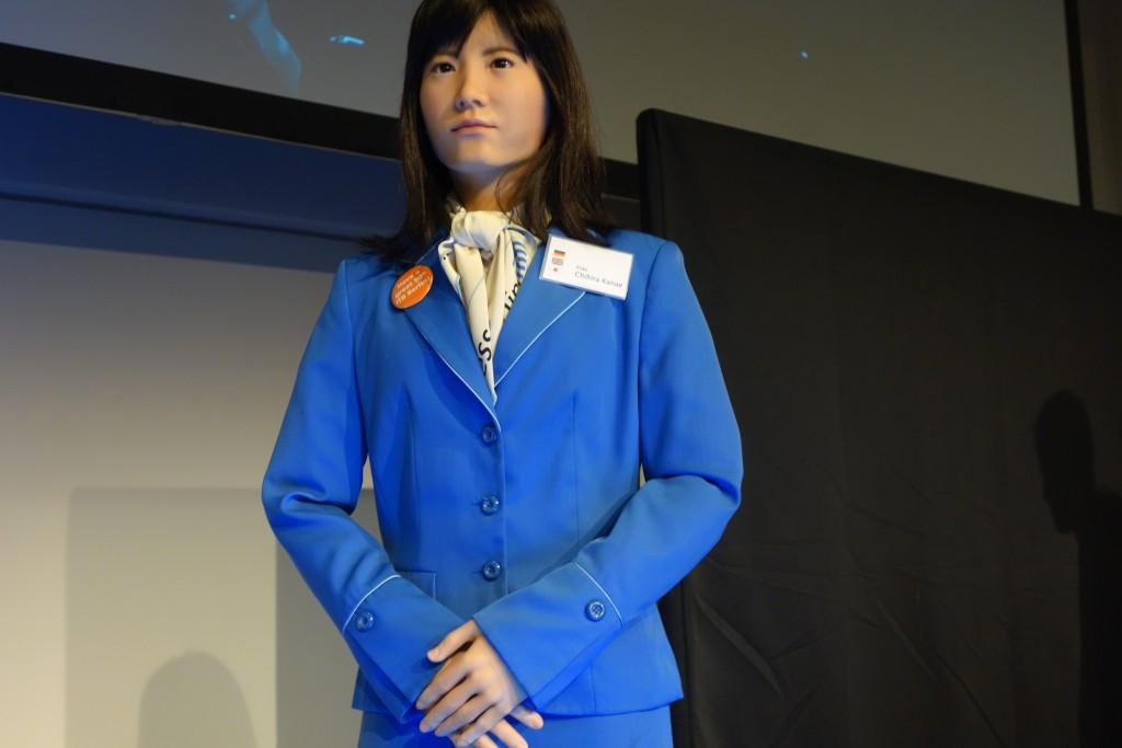 Die Zukunft lässt grüßen: Chikira Kanae, ein humanoider Roboter aus dem Hause Toshiba, gab sogar Interviews.