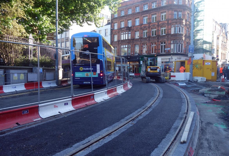 Die ganze Innenstadt ist eine Baustelle. Dublin bekommt eine neue Tramlinie.
