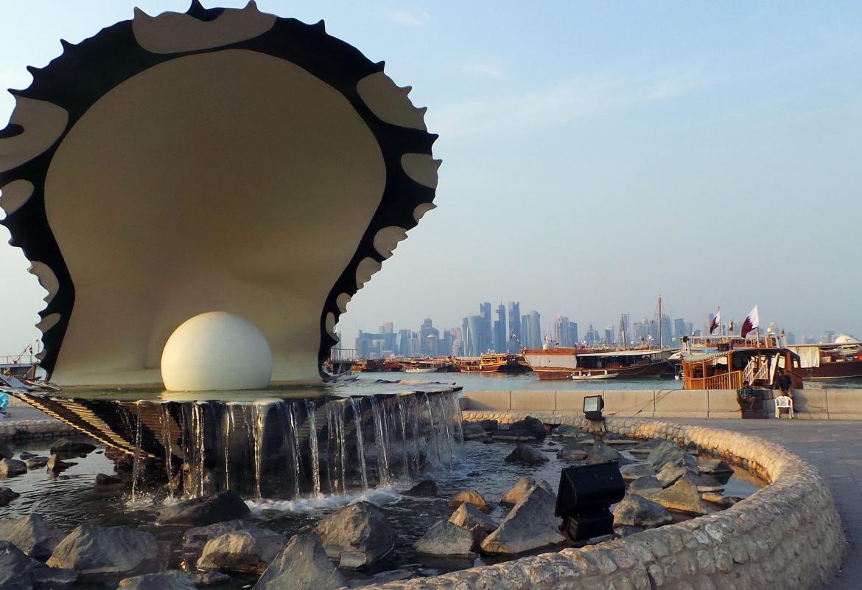 An die Geschichte Qatars als eine Nation der Perlenfischer knüpft dieses Denkmal an.